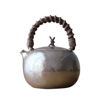 银壶纯银烧水壶日本纯手工云南一张打侧柄家用茶道泡茶壶
