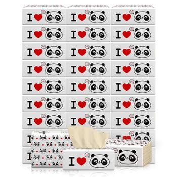 植护原木抽纸家庭装3层 纸抽功夫本色爱心熊猫30包整箱装