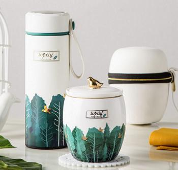 拓希 保温杯 泡茶杯维拉雅致小鸟套装TX-TZB300G