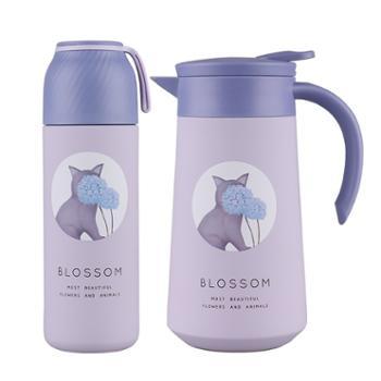 德鲁曼 秘密花园套装 萌趣咖啡保温壶保温杯两件套 HB-8350 极光紫