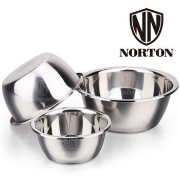 诺顿营养多用调料碗(3件套)不锈钢加厚汤盆味斗调料缸沙拉碗洗菜盆打蛋和面盆 18-22-26cm