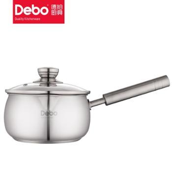 德铂 304不锈钢小汤锅 16cm 无涂层泡面锅 煮奶婴儿辅食锅