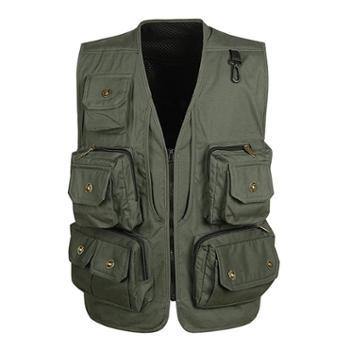 Aeroline男式中老年爸爸装户外休闲多口袋铜扣马甲