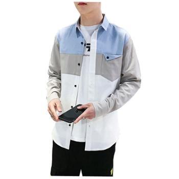 Aeroline纯棉男士拼接长袖衬衫韩版潮流帅气工装夹克翻领衬衣外套