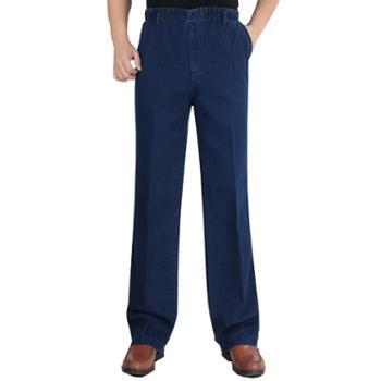 Aeroline中老年爸爸装男士牛仔裤休闲松紧腰宽松微弹厚款长裤