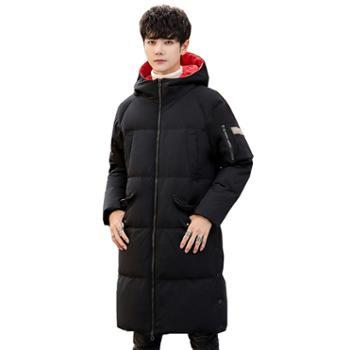 柏誉/Aeroline 男士羽绒服 冬季连帽加厚青年中长款羽绒外套