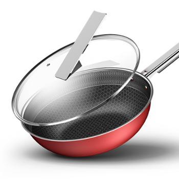 康巴赫轻厨系列少油烟钢铝双层蜂窝炒锅32cm KGC-C32H
