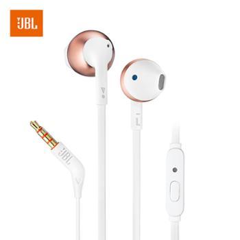 JBL 半入耳式耳机 有线运动耳机 带麦克风 苹果安卓通用 T205