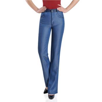 百旅Bailv春季新款妈妈裤高腰薄款中筒女式舒适牛仔长裤