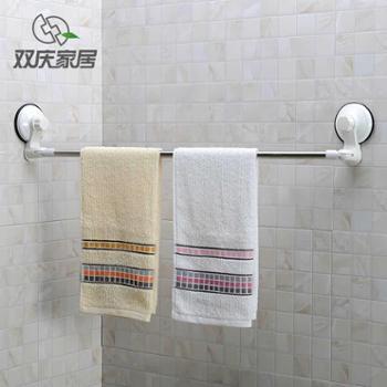 双庆不锈钢超强力吸盘式毛巾架浴室免打孔单杆毛巾杆卫生间毛巾挂
