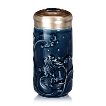 乾唐轩活瓷小鱼跃龙门随身杯(小款单层)330ml陶瓷便携带