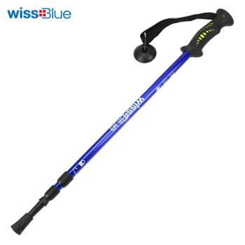 wissblue登山杖超轻户外手杖减震铝杆徒步杖三节伸缩折叠WA8039