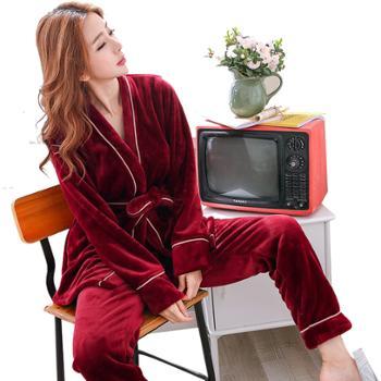 冬季女士加厚珊瑚绒睡衣长袖保暖女人套装韩版法兰绒家居服