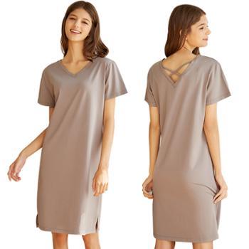 半颜 夏季女士莫代尔棉短袖睡裙 V领可外穿