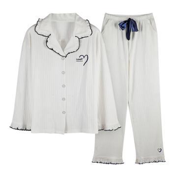 xoidol 衣女秋季长袖纯色开衫翻领纯棉家居服套装 纯棉