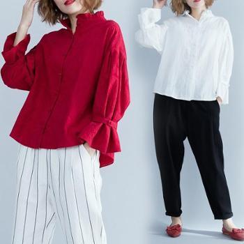 春款宽松大码女装提花荷叶领衬衣纯色时尚气质百搭长袖