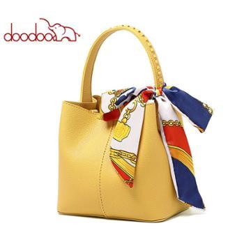 doodoo女包包简约单肩斜挎包手提丝巾水桶包D9610