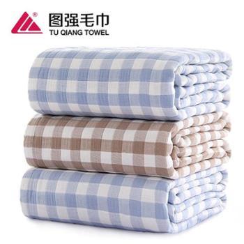 图强 纱布彩色格子浴巾 纯棉 70*140cm