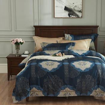 简约140支高端比马棉四件套纯棉长绒棉贡缎全棉被套床单床上用品