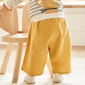 威尔贝鲁男女童裤子儿童裤子春秋薄款外穿宝宝裤子日系童装9分裤