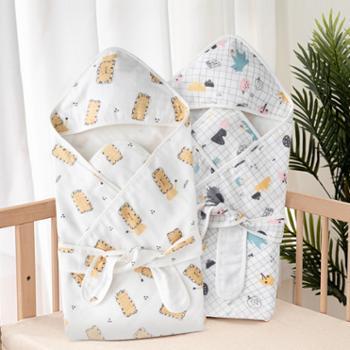 威尔贝鲁新生儿包被婴儿初生产房抱被春夏纯棉纱布包裹被四季通用