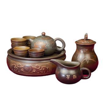 壶福源 钦州坭兴陶茶壶 团团圆圆十件套